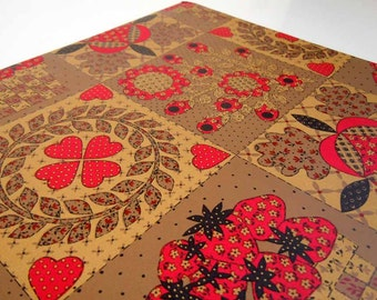 Vintage 1970's All Occasion Strawberry Wrapping Paper Red Brown Patchwork Quilt Gift Wrap