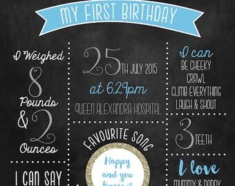 Digital 'My First Birthday' chalkboard print Printable