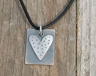 Silver Heart Tag Necklace