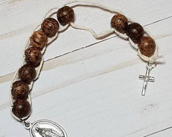Sacrifice Beads Dark Walnut Wood Bead, St Therese Good Deed Beads, Rosary Decade, Catholic Wedding Gift Bridesmaid Prayer Beads Confirmation