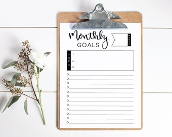 "Monthly Goals Printable, Monthly Goals Worksheet, Monthly Goals Checklist, 8.5"" x 11"" Monthly Goals Template, Instant Download."