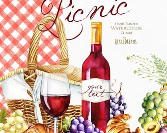Picnic watercolor clipart, Picnic Basket, Picnic Hamper, Wine, Glass, Fruit, Grapes, Food, Kitchen, Summer, Camping, Watercolour digital set