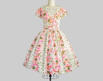 1950s Watercolor Floral Print Dress | Small (36B/26W)