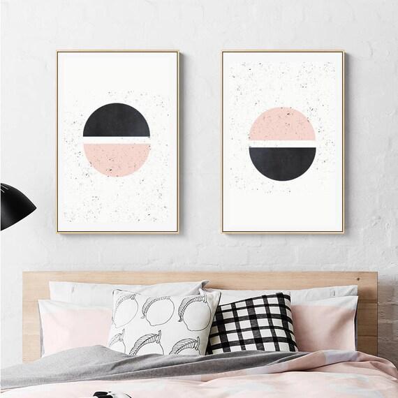 HALF HALF // Mid Century Poster, 18x24, minimalist art print, geometric print, Pastel colors, abstract, half circles