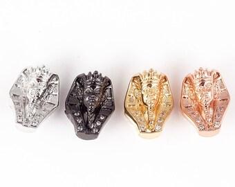 Pharaoh Egyptian beads Micro Pave Bead/CZ Bead /Clear Cubic Zirconia Sphinx beads,Men Bracelet Charms,Pave Beads, Bracelet Charms,14mm,1pc