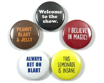 Paul Blart Mall Cop Movie Quotes Fan Art Kevin James 5 - 1 Inch Button Badges Pinback Pin Set