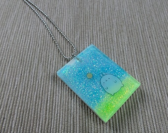 Resin necklace with stickers or shapes #1