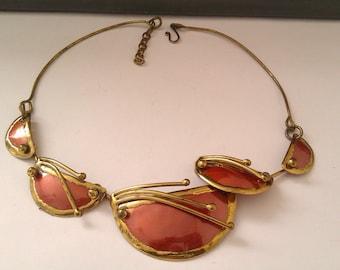 vintage brass, copper and enamel nouveau necklace