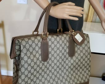 Vintage Gucci Brown Padlock/Key Carry On Travel Tote