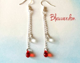 Dangling earrings drops red and white