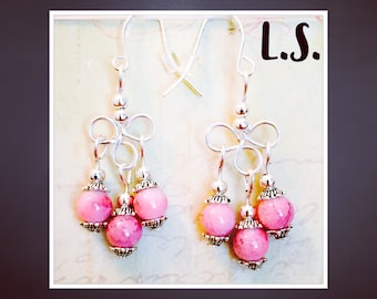Pink chandelier earrings silver plated