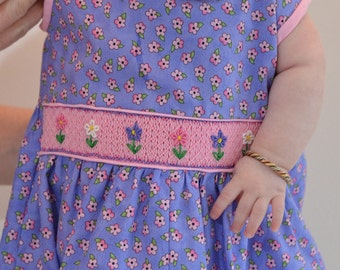 Child's Hand Smocked Romper - Posies (Sold) - Custom Available