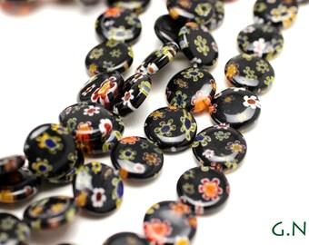 Millifiore Bead 12MM X 12MM Black, Flat Round Millifiore,Full Strand, #MIL022634
