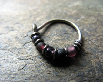 hawkeye hoop-- superhero nose ring or hoop earring-- handmade by thebeadedlily