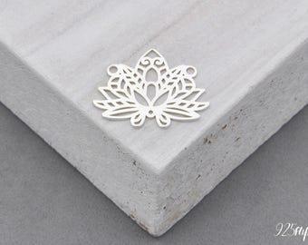 925 Sterling Silver Lotus, silver 925, lotus pendant, lotus charms, necklace Lotus, lotus flower silver flower pendant, small flower, yoga,