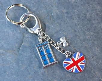 London Calling Keychain - Blue Enameled Police Box, bowtie & heart shaped UK flag charms - make a Whovian happy- Free Shipping USA