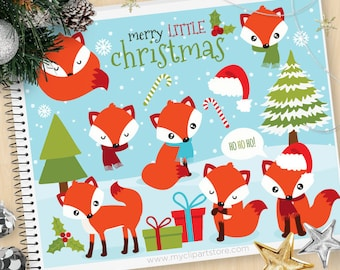 Red Fox Christmas Clipart, winter Fox, snowflakes, woodland, forest animals, Personal and Commercial Use Vector Clip Art, SVG Cut