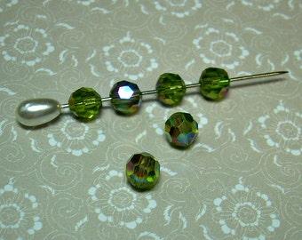 6 Vintage Glass Beads Olivine AB 6mm Green West German
