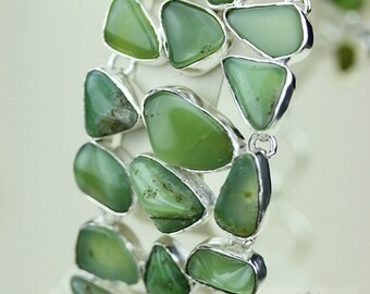 Triple Layered GENUINE Top Graded RUSSIAN CHRYSOPRASE 925 Solid Sterling Silver Bracelet + Free Worldwide Shipping b1421