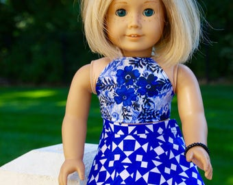 American Girl Size Blue and White Crop Top and Skirt.  Available in 14 and 18 inch size