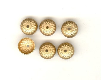 6 Raw Brass Acorn Bead Caps Very Detailed 12mm BC19