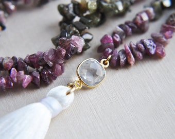 Tassel Necklace, Tourmaline Necklace, Raw Stone, Natural Stone, Rough Cut, Stone Necklace, Long Necklace, Rainbow Tourmaline, Gifts for Her