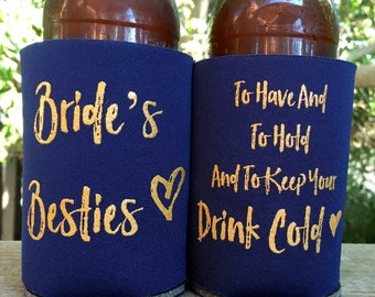 Bachelorette Party | Bachelorette Favors | Can Coolers | Bachelorette Party Favor | Bridesmaid Gift | Brides Bestie Drink Holder, Bride Gift