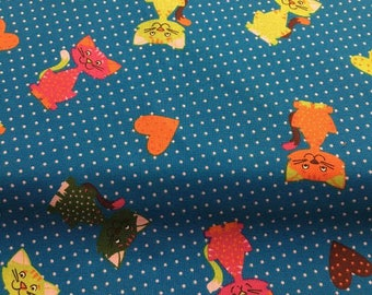 Cats, blue-colored 100% cotton fabric