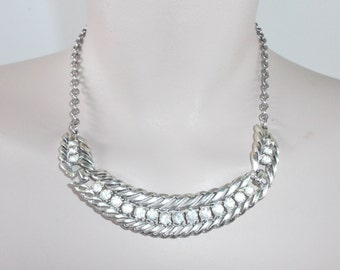 1950s Vintage Rhinestone and Silver Tone Metal Abstract Necklace