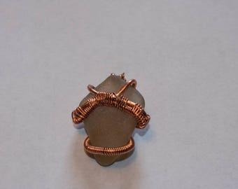 Copper Wired Pendant on Sea Glass