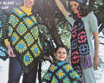 1970's Granny Square Hat, Poncho, Scarf Vintage Crochet Patterns PDF Patterns GS6