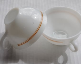 Vintage Pyrex Coffee Cups Lot of 2/White Glass