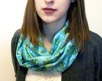 Dinosaur Pattern Infinity Scarf - Blue Winter Scarf / Illustrated Dino Print / T-Rex Stego Bronto Scarf / Dino Lover Gift / Cute Accessory