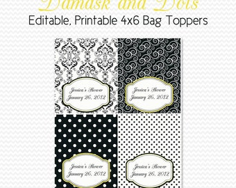 Damask and Dots Birthday Party Favors, Treat Bag Toppers, Bridal Shower Favors, Black and White, Yellow Accent -- Editable, Printable