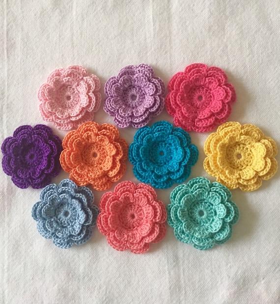 Crochet Flower Appliques Three Layer Flowers Set Of 10