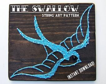 "String Art Pattern - Vintage Swallow Tattoo - 8.5"" x 13"""