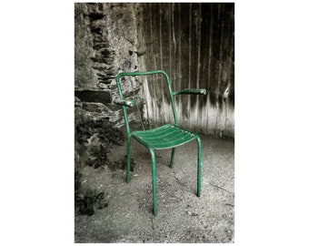People Watching, French Village Scene, Green Chair, France Photography, South of France