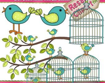 lil Birdie Blue 1 Clipart (Digital Download)