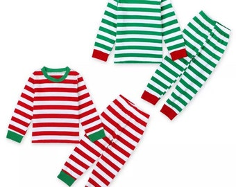 Striped Christmas Pajamas- Red or Green