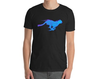 OUTRUN CHEETAH Eighties Blue Neon Graphic Tee
