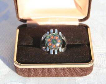 ON SALE   Vintage Caithness Millefiori Glass Sterling Silver Ring Birmingham Hallmark 1978