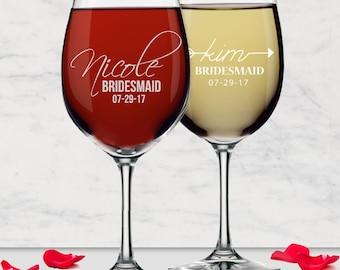 Engraved Wine Glasses, Personalized Wine Glass, Custom Wine Glasses Bridesmaid Gift Monogram Wine Glass Bridesmaid Wine Glasses Personalized