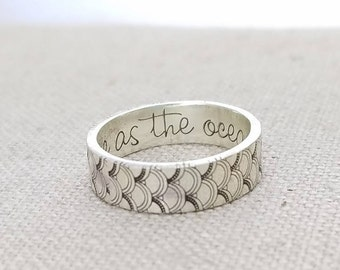 Inspiration Ring -  Outdoor Gift - Mermaid Ring - Band - Inspirational Jewelry  - Ocean Jewelry - Silver Ring - As Free As The Ocean