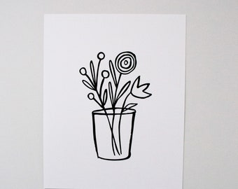 Flowers in a Vase No. 2 - Flowers in a Vase - Black and White Art - Line Art - Floral Art - Wall Decor