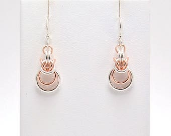 Large Loop Byzantine Earrings in Sterling Silver and Rose Gold Fill