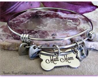 Hand-stamped Dog Lover Jewelry; Personalized Wire Bangle Bracelet;  Mutt Mom Bracelet; Dog Bone Monogram Bangle; I Love My Mutts Jewelry