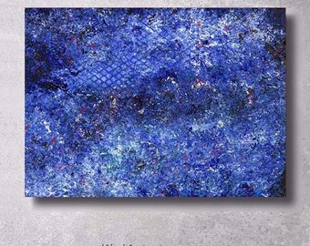 Original Abstract Painting on Canvas DENIM GALAXY
