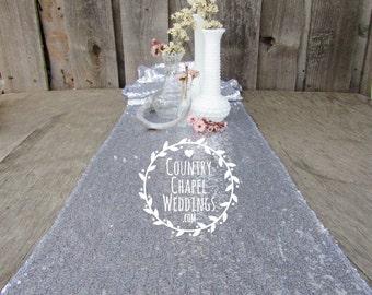 SUPER SALE!! Silver Sequin Table Runner ~ 12 x 108 Inches ~ Wedding Decor ~ Wedding Table Runner ~ Spring Wedding ~ Metallic Wedding Decor
