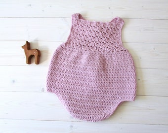 Crochet Millie Romper Written Pattern - Pretty Crochet Shell Stitch Baby Romper / Onesie Pattern