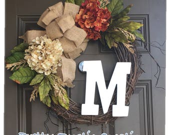 Year round hydrangea wreath for front door - everyday wreath with monogram - all year wreath with a burlap bow - rustic wreath with initial